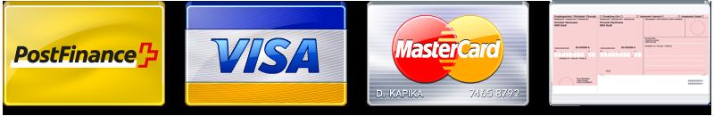 PostCard, Visa, MasterCard or bank transfer