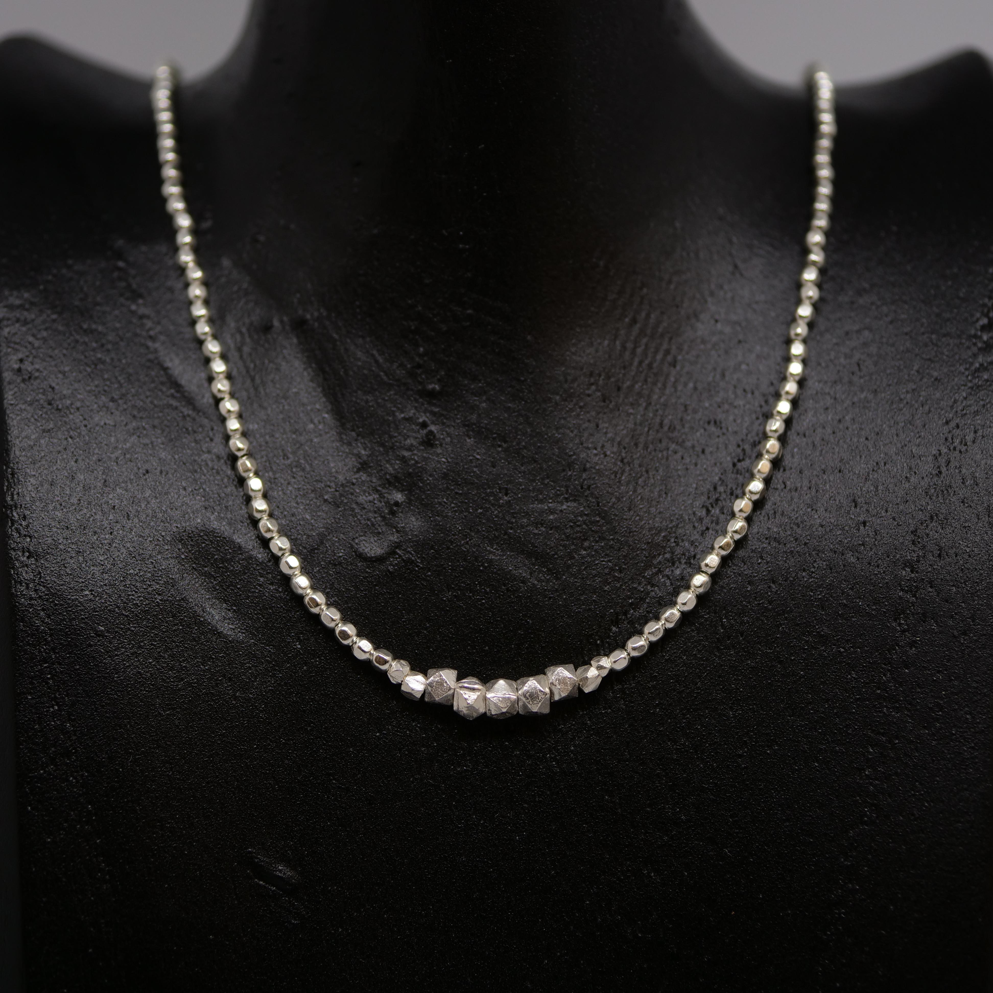 Halskette Silberperlen und Nuggets - 00b4c304a2