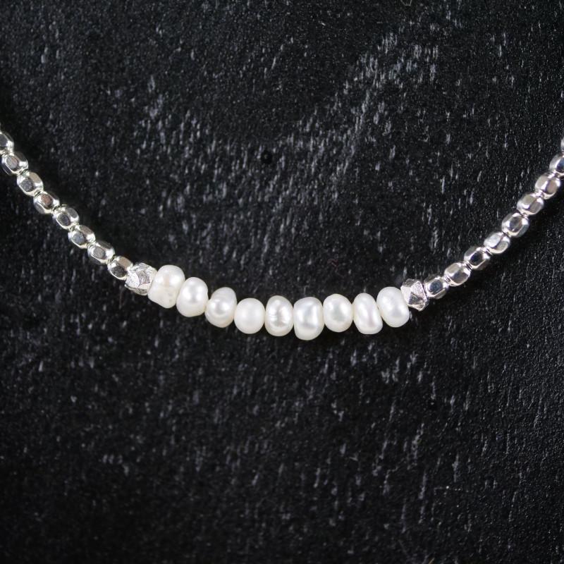 Halskette Silberperlen und Nuggets  Halskette Silberperlen und Nuggets ce47719bc4